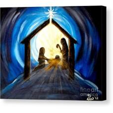 Print of Painting - Christmas Manger Glory - 10 x 8 Canvas Art Print - Original painting by Diane Wigstone