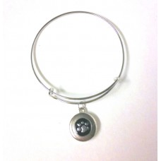 HappySnaps Special - Exclusive HappySnaps LifeStory Metal Wire Bangle Snap Expandable Silvertone Bracelet for Independence Bulldog fans