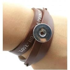 HappySnaps Leather Love Hope & Happiness Slide-Snap Bracelet - Brown