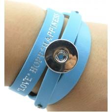 HappySnaps Leather Love Hope & Happiness Slide-Snap Bracelet - Light Blue