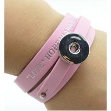 HappySnaps Leather Love Hope & Happiness Slide-Snap Bracelet - Light Pink