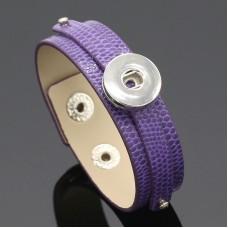 HappySnaps Leather Slide-Snap Bracelet - Purple