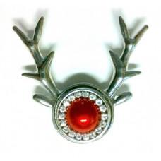 HappySnaps Pendant Snap - Christmas Reindeer Rudolph with One Red HappySnaps Jewel