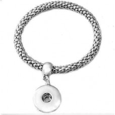 HappySnaps Metal Stretch Bangle Snap Silvertone Bracelet