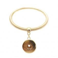 HappySnaps Metal Spring Bangle Snap Goldtone Bracelet