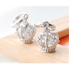 Earrings - Silvertone Crown Zirconium Earrings