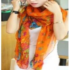 Scarf - Multi-colored Floral Print Viscose Chiffon Long Scarf - Orange