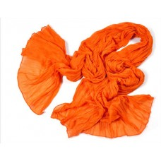 Scarf - Solid Colored Crinkle Cottony-Texture Long Scarf - Orange