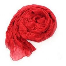 Scarf - Solid Colored Crinkle Cottony-Texture Long Scarf - Red