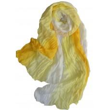 Scarf - Multicolored Viscose Chiffon Crinkle Long Scarf - Yellows