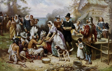 The First Thanksgiving by Jean Leon Gerome Ferris (1863–1930) Public Domain