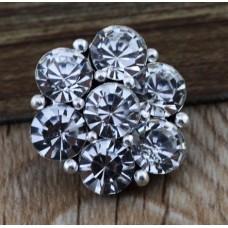 HappySnaps Jewel - 7 Crystal Flower - Gray