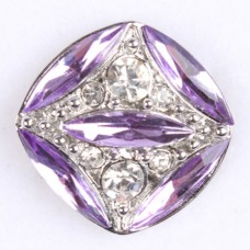 HappySnaps Jewel - Square - Lavender Crystals & Rhinestones Snap