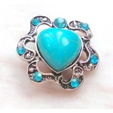 HappySnaps Jewel - Turquoise - Heart with Rhinestones