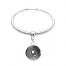 HappySnaps Metal Spring Bangle Snap Silvertone Bracelet