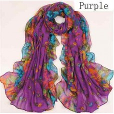 Scarf - Multi-colored Floral Print Viscose Chiffon Long Scarf - Purple