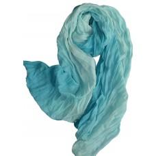 Scarf - Multicolored Viscose Chiffon Crinkle Long Scarf - Beach Blues